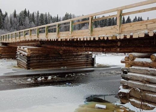 Восстановленный мост через реку Суланда Шенкурского района